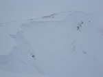 the headwall below the cornice edge middle of picture